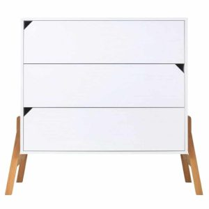 Commode en bois 3 tiroirs Zanzibar Blanc