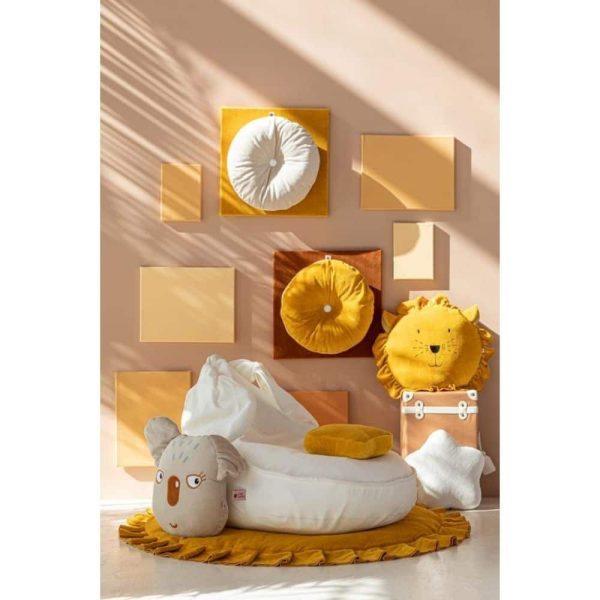 Pouf Velours Oreilles Lapin Blanc