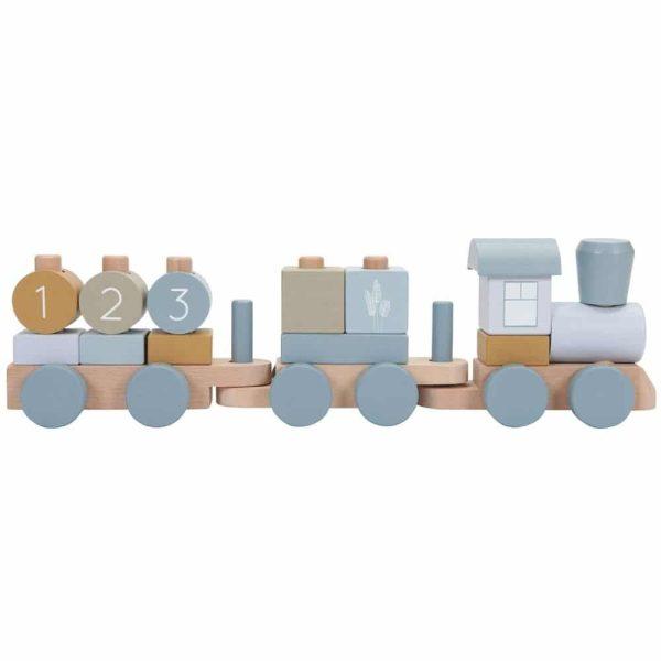 train en bois bleu little dutch (3)