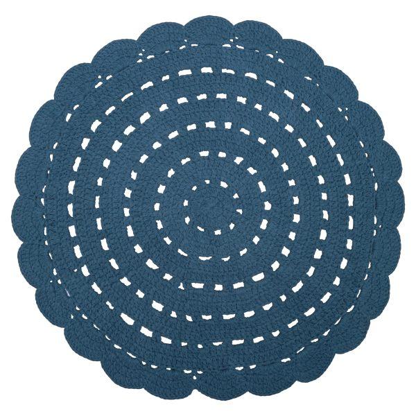 tapis chambre bébé coton crochet bleu