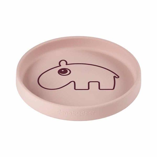 assiette bébé silicone rose poudré ozzo Done By Deer