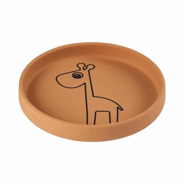 assiette bébé en silicone moutarde Raffi Done By Deer