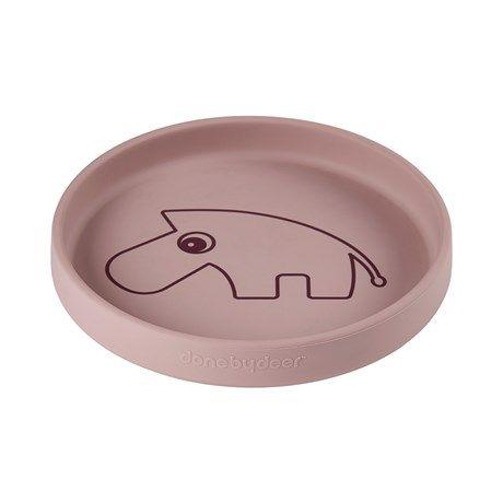 assiette bébé en silicone rose poudré Done By Deer