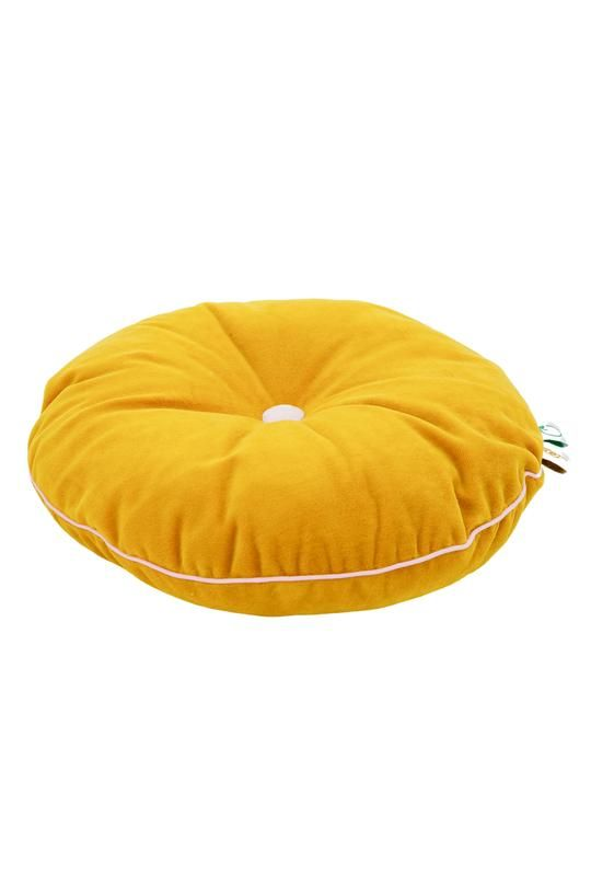 coussin rond moutarde