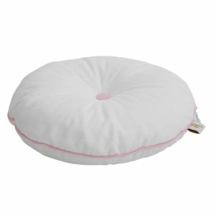 coussin rond velours blanc