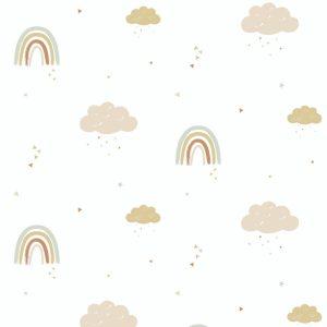 Papier peint chambre bébé arc en ciel