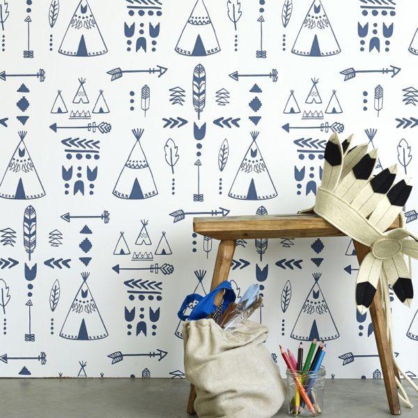 papier peint chambre enfant tipi bleu