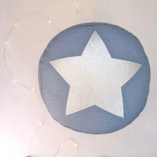 pouf-bleu-étoile-argent