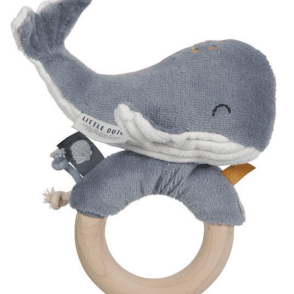 anneau hochet baleine ocean blue little dutch