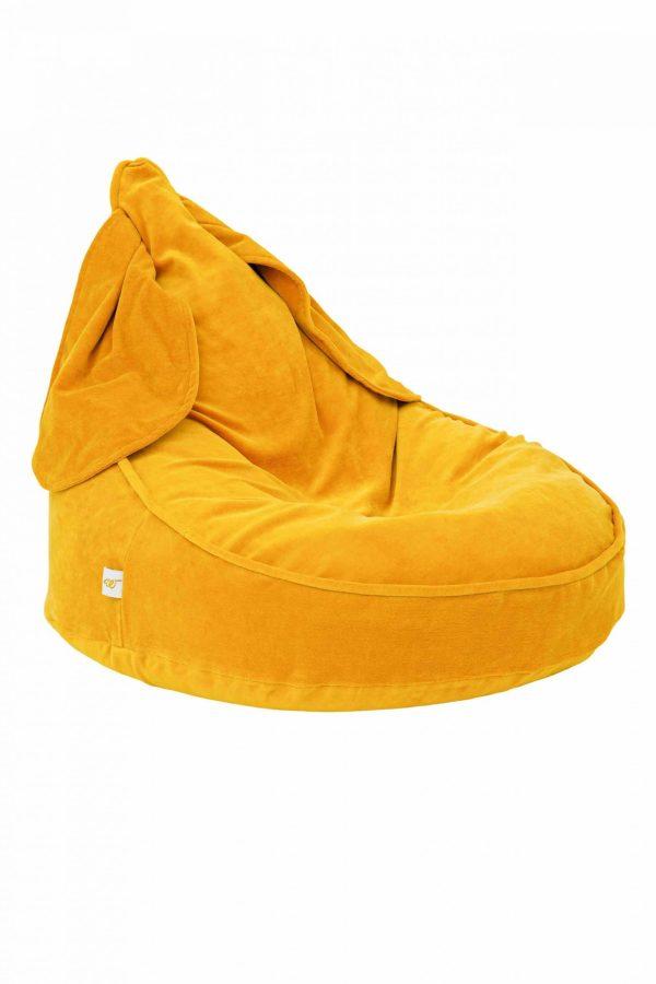pouf oreilles de lapin moutarde