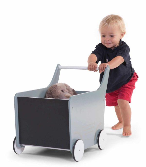 chariot bois enfant gris