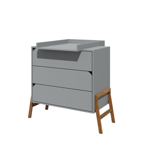 commode table à langer gris