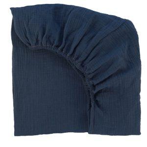 drap housse mousseline de coton bleu indigo