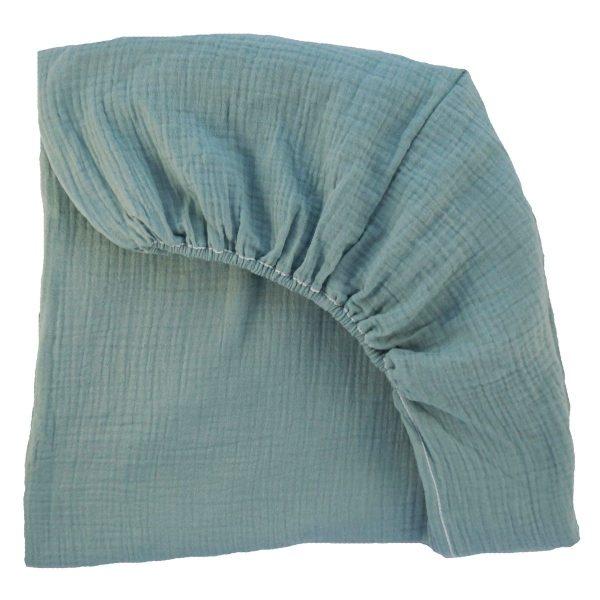 drap housse mousseline de coton vert