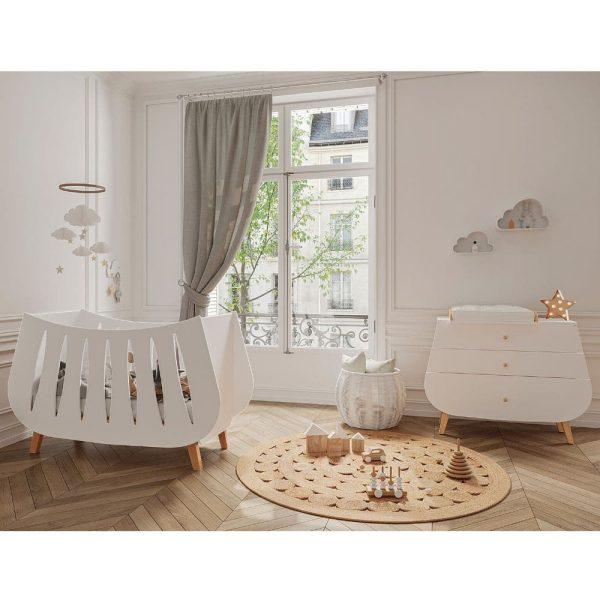 chambre Lit bébé en bois Trapèze couleur blanc