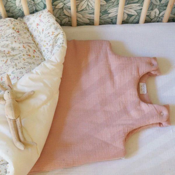 gigoteuse mousseline de coton vieux rose