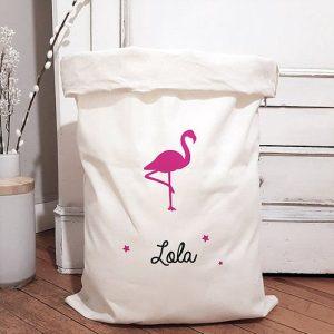 grand sac de rangement Flamingo rose