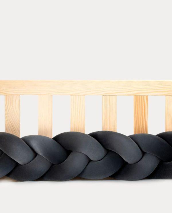 tour de lit tressé gris graphite