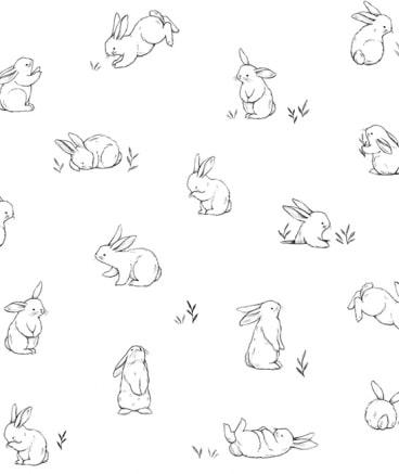 papier peint blanc petits lapins
