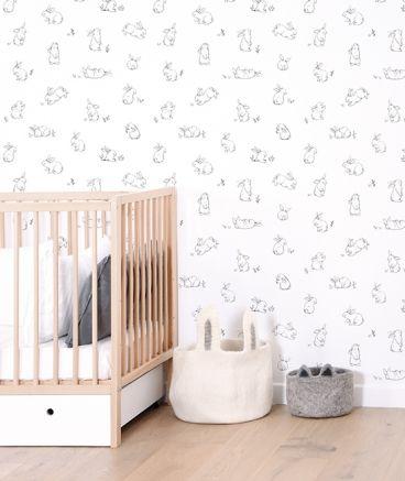 chambre papier peint blanc petits lapins