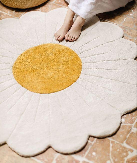 tapis rond fleur de camomille