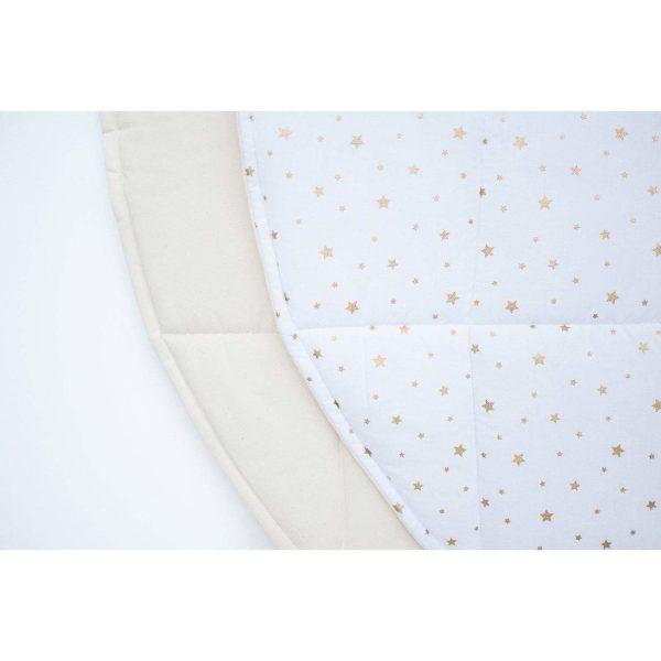 tissu tapis blanc étoiles dorées