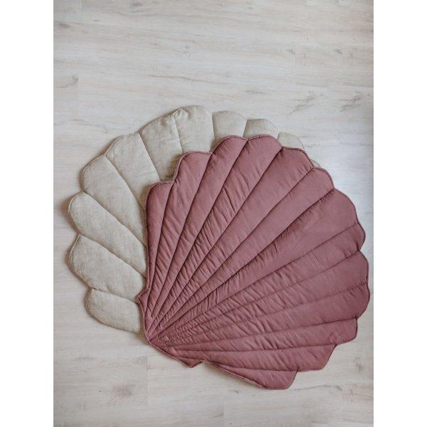 tapis coquillage marsala lin