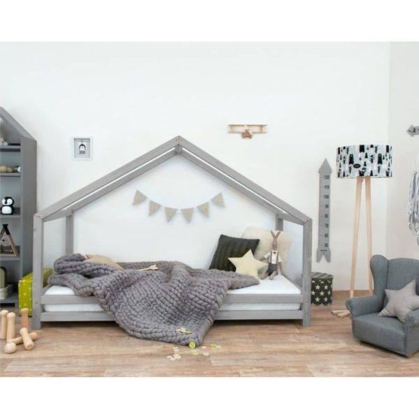 lit cabane montessori ouvert sur le côté gris Lucky