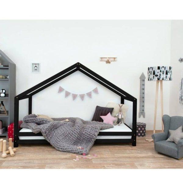 lit cabane montessori ouvert sur le côté noir Lucky