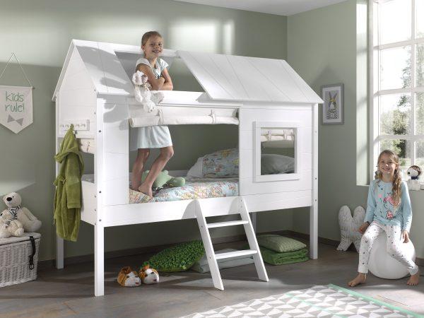 Lit cabane enfant bois blanc