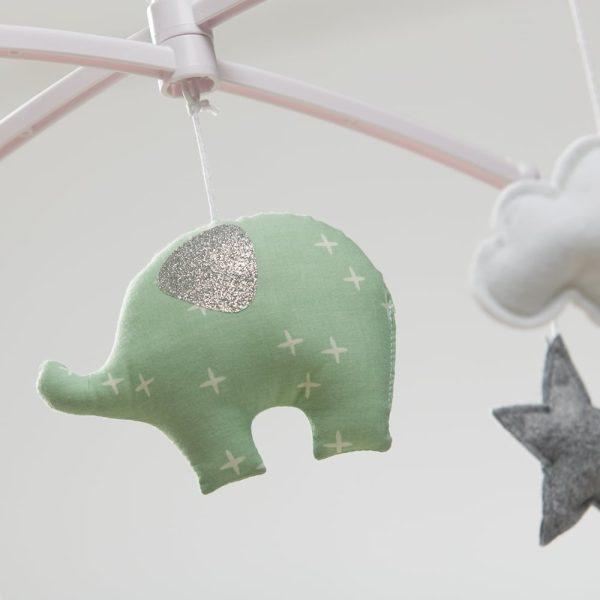 mobile éléphant vert mint oreilles glitter
