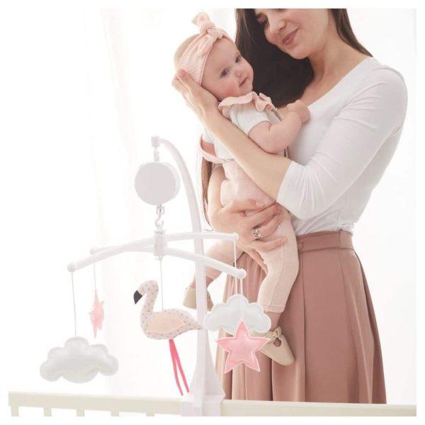 mobile-flamant-rose-pastel-maman-bébé