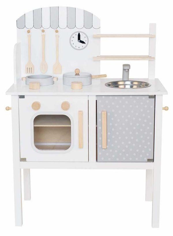 cuisine pour enfants en bois blanc et gris