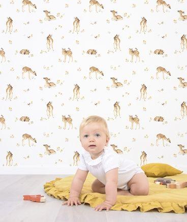 Papier peint chambre bébé motif Faon