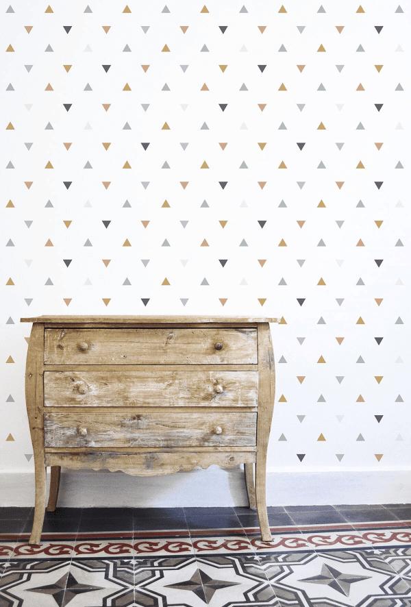papier peint enfant motif triangles