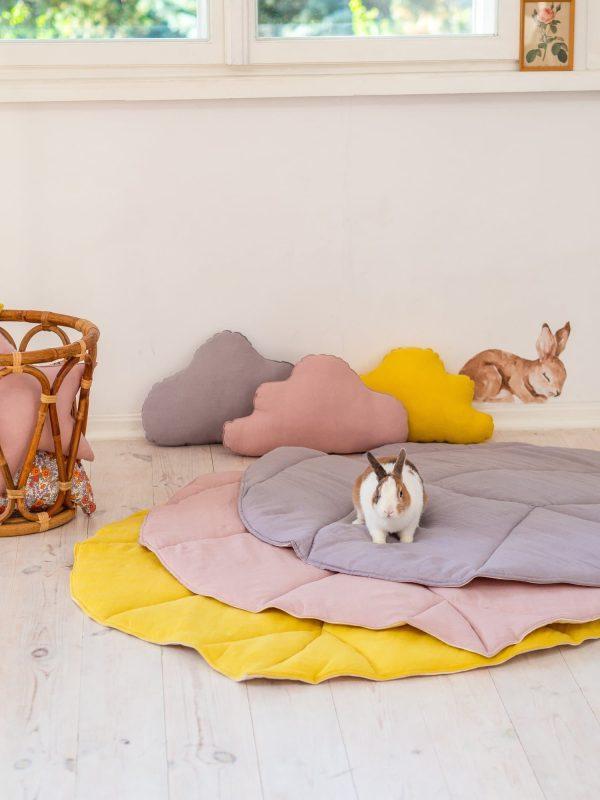 tapis feuille lin et coton 3 couleurs