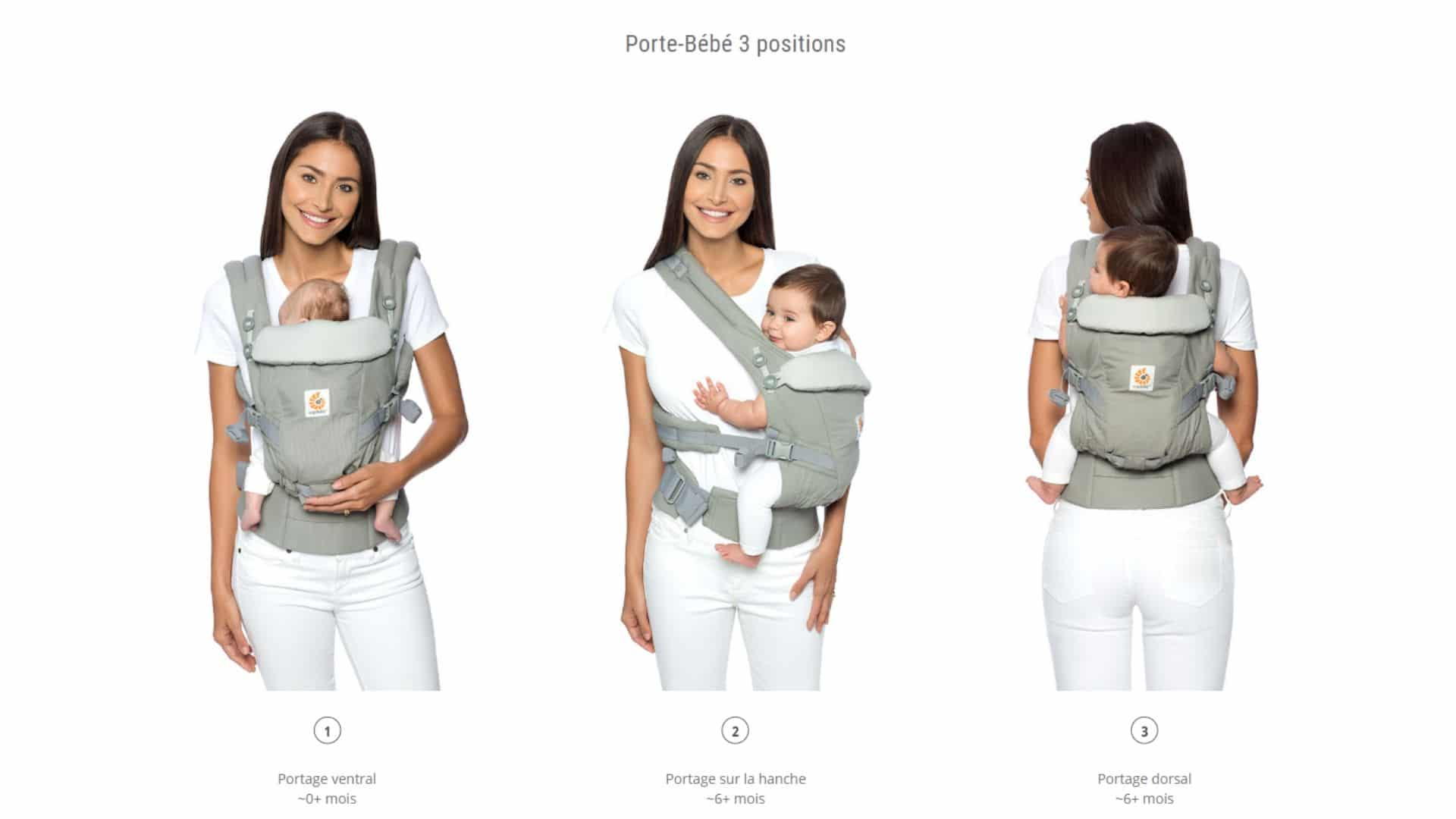 3 positions possibles Ergobaby Adapt