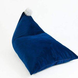 pouf velours pompon navy