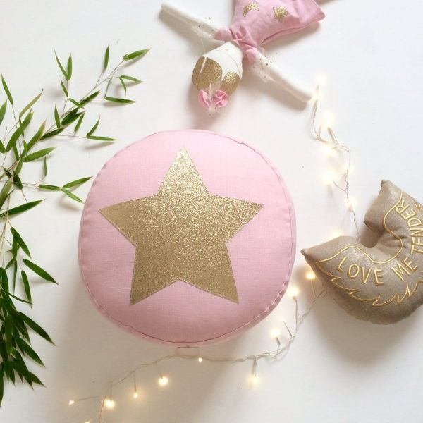 pouf-rose-étoile-or