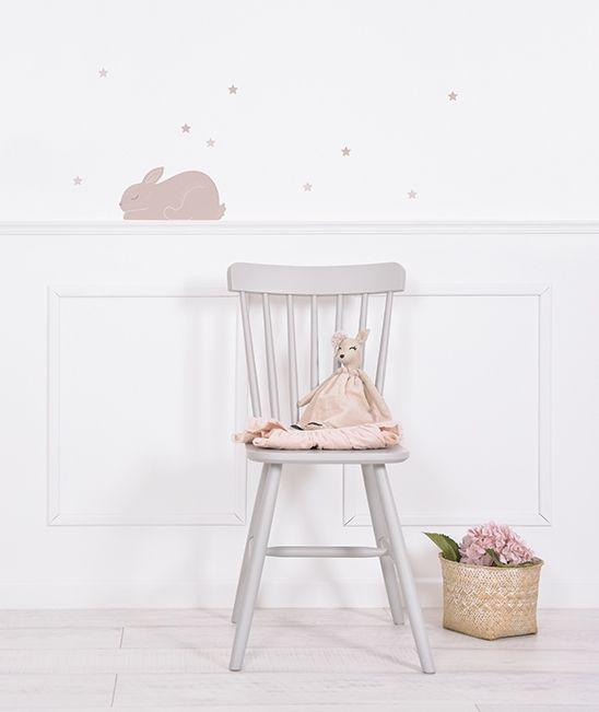 chambre stickers lapins et étoiles rose poudré