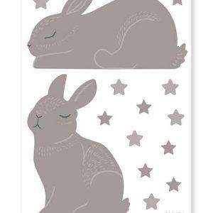 planche stickers lapins et étoiles taupe