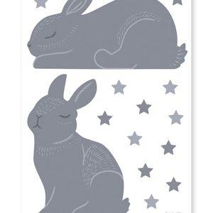 stickers lapins et étoiles bleu nuit