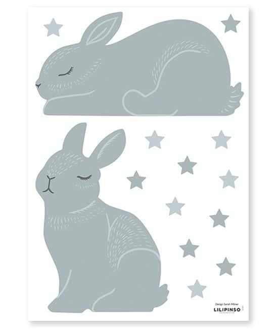 planche stickers lapins et étoiles