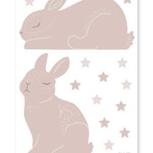 planche stickers lapins et étoiles rose poudré