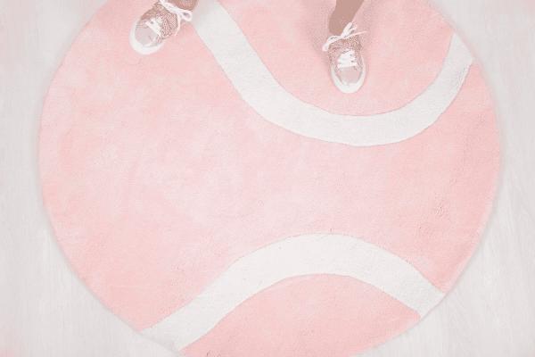 tapis coton enfant balle de tennis rose