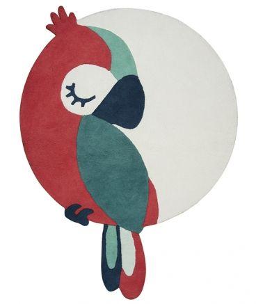 tapis coton perroquet