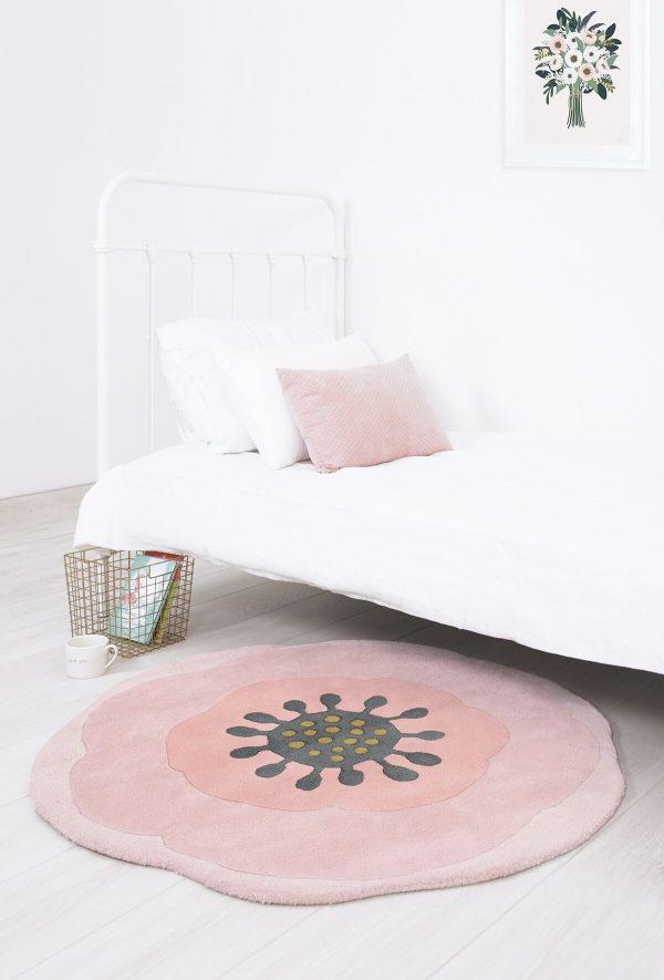 tapis enfant coton fleur rose