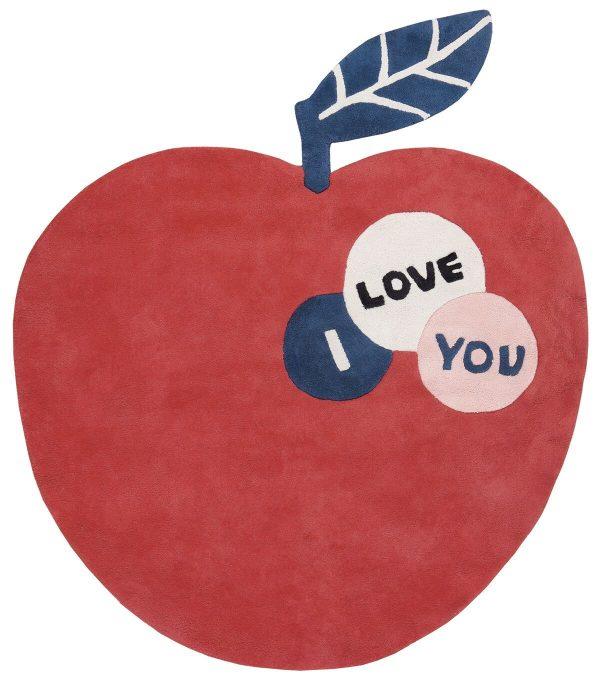 tapis enfant coton pomme rouge