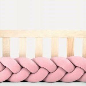 tour de lit tressé rose poudré