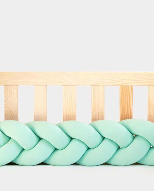 tour de lit tressé bébé vert mint